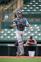 Tampa Bay Rays catcher Roberto Alvarez (91) during an Instructional League game against the Baltimore Orioles on October 2, 2017 at Ed Smith Stadium in Sarasota, Florida.  (Mike Janes/Four Seam Images)