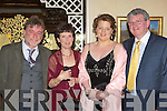 Paudie O'Shea, Mary Gallagher, Ellen Ruane and Diarmuid O'Shea enjoying the Killorglin Intermediette School Centenary celebrations in the Dunloe Castle Hotel Beaufort on Saturday