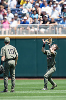 Vanderbilt Commodores outfielder Pat DeMarco (18) makes a catch during Game 3 of the NCAA College World Series against the Louisville Cardinals on June 16, 2019 at TD Ameritrade Park in Omaha, Nebraska. Vanderbilt defeated Louisville 3-1. (Andrew Woolley/Four Seam Images)