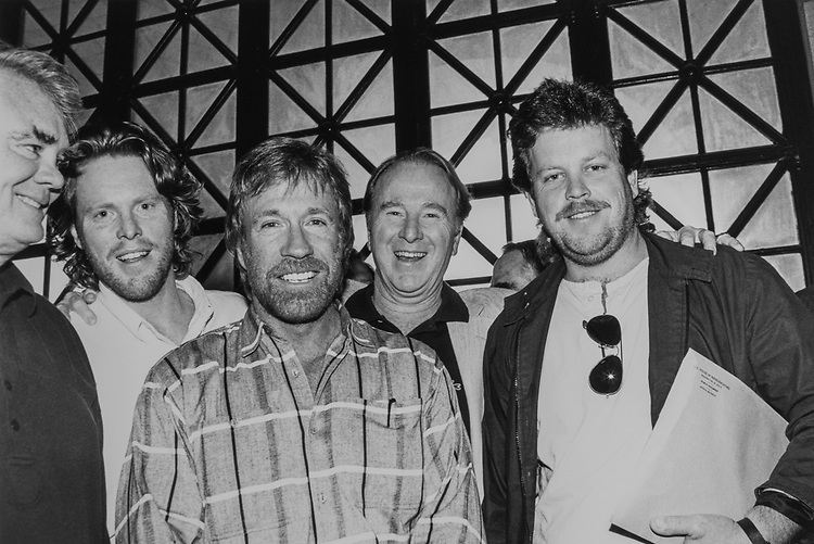 Rep. Bill Young, R-Fla., Rep. Bob Dornan, R-Calif., with his sons Mark Dronan and Bobby Dornan and Chuck Norris on May 21, 1990. (Photo by Laura Patterson/CQ Roll Call via Getty Images)