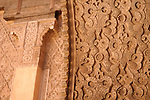 Detail of the walls in the Ibn Yusuf Medrassa in Marrakesh, Morocco.