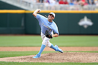 North Carolina's Patrick Johnson delivers a pitch. Vanderbilt beat UNC 7-3 to open the 2011 College World Series in Omaha, Neb. (Photo by Michelle Bishop)..