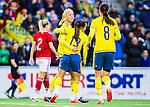 ****BETALBILD**** <br /> Stockholm 2015-04-08 Fotboll Landskamp Damer , Sverige - Danmark :  <br /> Sveriges Caroline Seger firar sitt 3-2 m&aring;l med Malin Diaz Petterson och Lotta Schelin under matchen mellan Sverige och Danmark <br /> (Photo: Kenta J&ouml;nsson) Keywords:  Sweden Sverige Denmark Danmark Landskamp Dam Damer Tele2 Arena Stockholm  jubel gl&auml;dje lycka glad happy