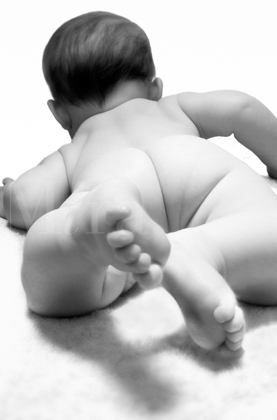 Nude baby from behind