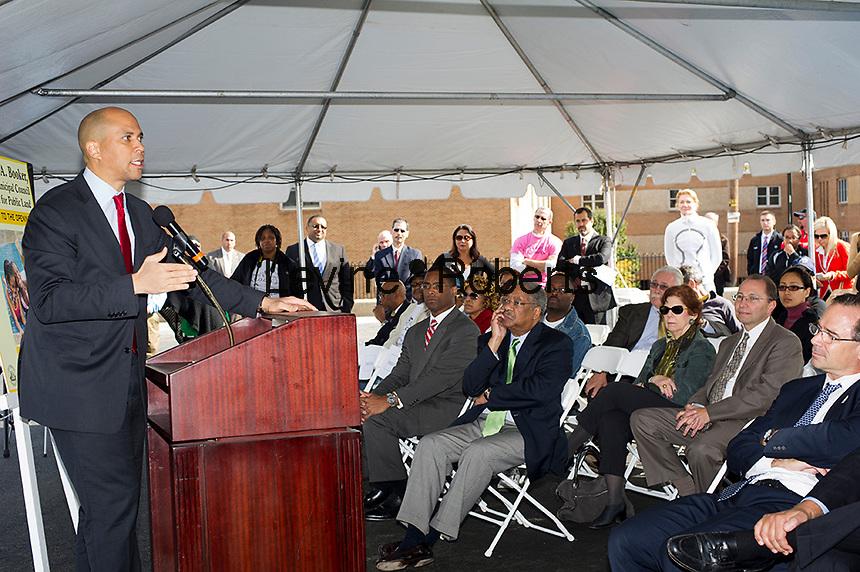 Newark Mayor Corey A. Booker speaks at the Jesse Allen Park Phase II Opening Celebration, Newark, NJ on Wednesday, October 17, 2012.  (© Frances M. Roberts)