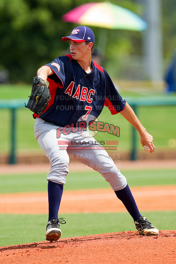 Max Fried #7 of AABC in action against Dixie at the 2011 Tournament of Stars at the USA Baseball National Training Center on June 25, 2011 in Cary, North Carolina.  The AABC defeated Dixie 4-2.  (Brian Westerholt/Four Seam Images)
