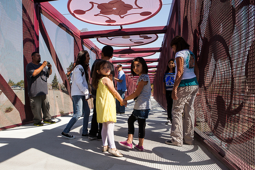 """""""Xander's Crossing,"""" a 315-foot long prefabricated steel pedestrian bridge, was opened in San Jose on Friday, September 28, 2012. The bridge is named in honor of Alexander Arriaga, a 2-year-old boy who died after being struck by a train in 2005."""