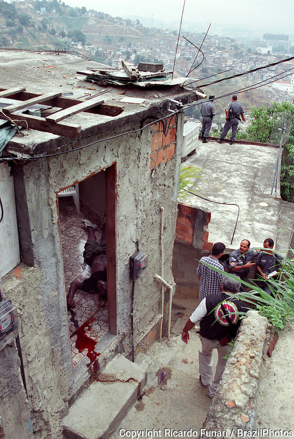 Urban violence in Rio de Janeiro, Brazil. Drug traffic war in shantytown. Death, murder, blood, police.