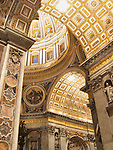 Interior of St. Peter's Basilica in Vatican City, Rome, Italy.  Construction begun in 1506 and was completed in 1626, it is the largest Christian church in the world.
