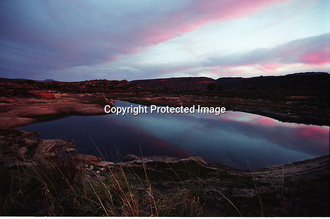 DISPWCA00076.West Coast. Nature, conservation, lake, cederberg,.mountains, paintings, bushman..A lake in close to Bushmanskloof, a luxury resort and a private reserve. The area has a high number of bushman paintings. Bushmanskloof, South Africa. .©Per-Anders Pettersson/iAfrika Photos