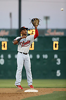 Fernery Ozuna (2) of the Visalia Rawhide takes a throw to second base during a game against the Lancaster JetHawks at The Hanger on August 9, 2017 in Lancaster, California. Lancaster defeated Visalia, 7-4. (Larry Goren/Four Seam Images)