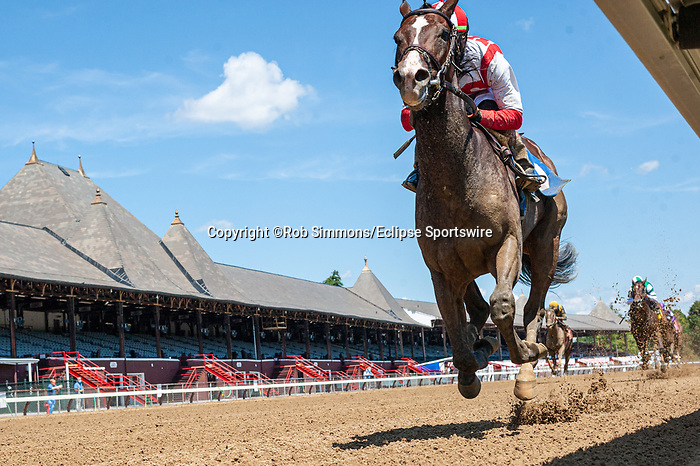 August 1, 2020: Reinvestment Risk #3, ridden by Irad Ortiz, win the first race for trainer Chad Brown on Whitney Day at Saratoga Race Course in Saratoga, New York. Rob Simmons/Eclipse Sportswire/CSM