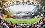 Stockholm 2015-08-24 Fotboll Allsvenskan Djurg&aring;rdens IF - Hammarby IF :  <br /> Vy &ouml;ver Tele2 Arena med tifo av Djurg&aring;rdens och Hammarbys supportrar inf&ouml;r matchen mellan Djurg&aring;rdens IF och Hammarby IF <br /> (Foto: Kenta J&ouml;nsson) Nyckelord:  Fotboll Allsvenskan Djurg&aring;rden DIF Tele2 Arena Hammarby HIF Bajen inomhus interi&ouml;r interior supporter fans publik supporters