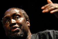 Ngugi wa Thiong'o.An Audience with Ngugi wa Thiong'o.World-famous novelist Ngugi wa Thiong'o launching his autobiography Dreams in a Time of War .at the Birmingham Library Theatre. .Event organised by the Drum in association with Birmingham Public Libraries..6.3.2010