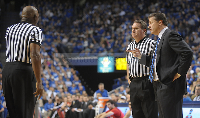 Kentucky Wildcats head coach John Calipari discusses a call during the second half of the University of Kentucky Men's basketball game against Radford at Rupp Arena in Lexington, Ky., on 11/23/11. Uk led the game at half 88-40. Photo by Mike Weaver | Staff