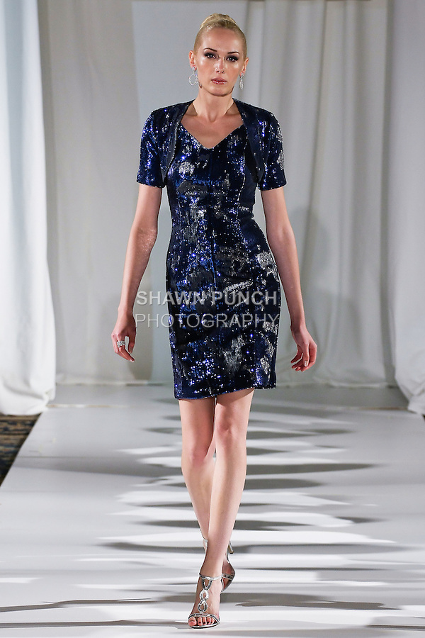 Christine walks runway in a sapphire/diamonds two-dimensional embroidered fitted dress and demi bolero, from the b Michael AMERICA Couture Spring 2013 collection during Mercedes-Benz Fashion Week Spring 2013, at the Jumeirah Essex House on September 12, 2012.