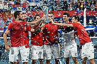 12th January 2020; Sydney Olympic Park Tennis Centre, Sydney, New South Wales, Australia; ATP Cup Australia, Sydney, Day 10; Serbia versus Spain; ATP Cup final ceremony; Novak Djokovic and Team Serbia lift the ATP Cup winners trophy after defeating Spain - Editorial Use