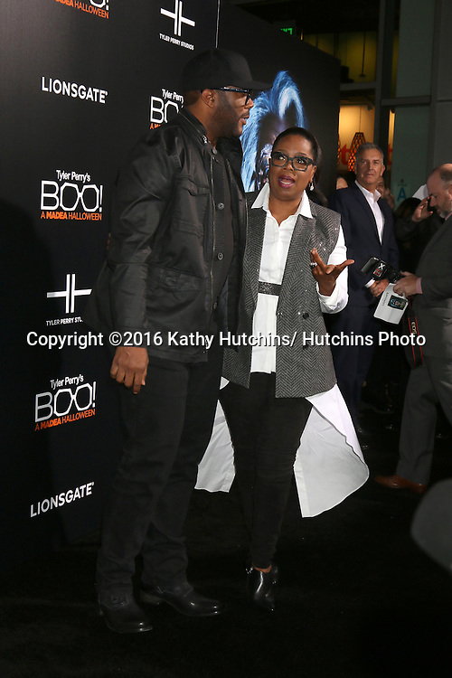 "LOS ANGELES - OCT 17:  Tyler Perry, Oprah Winfrey at the ""Tyler Perry's BOO! A Madea Halloween"" Premiere at the ArcLight Hollywood on October 17, 2016 in Los Angeles, CA"