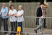 Staff from Heatherwood Hospital watch racegoers approach the Royal Enclosure at Ascot racecourse on Ladies Day.
