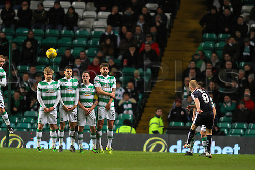 02.03.2016. Celtic Park, Glasgow, Scotland. Scottish Premier League. Celtic versus Dundee. Nicky Low fires in a free kick over the Celtic defensive wall of Armstrong, Rogic, Brown and Blackett