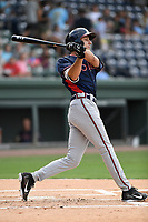Shortstop AJ Graffanino (16) of the Rome Braves bats in a game against the Greenville Drive on Wednesday, July 11, 2018, at Fluor Field at the West End in Greenville, South Carolina. He is the Atlanta Braves' 2018 eighth-round draft pick. (Tom Priddy/Four Seam Images)