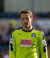 Goalkeeper Luke McCormick of Plymouth Argyle during the Sky Bet League 2 match between Wycombe Wanderers and Plymouth Argyle at Adams Park, High Wycombe, England on 12 September 2015. Photo by Andy Rowland.