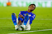 4th January 2020; King Power Stadium, Leicester, Midlands, England; English FA Cup Football, Leicester City versus Wigan Athletic; Demarai Gray of Leicester City grimaces after a heavy challenge - Strictly Editorial Use Only. No use with unauthorized audio, video, data, fixture lists, club/league logos or 'live' services. Online in-match use limited to 120 images, no video emulation. No use in betting, games or single club/league/player publications
