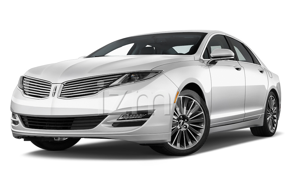 Stock pictures of low aggressive front three quarter view of 2016 Lincoln MKZ Hybrid 4 Door Sedan Low Aggressive