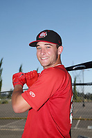 Logan Warmoth (29) of the Vancouver Canadians poses for a photo before a game against the Salem-Keizer Volcanoes at Volcanoes Stadium on July 24, 2017 in Keizer, Oregon. Salem-Keizer defeated Vancouver, 4-3. (Larry Goren/Four Seam Images)