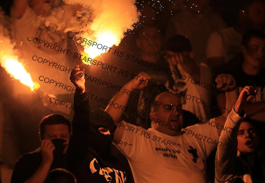 Fudbal Jelen Super League season 2014-2015<br /> Partizan v Donji Srem<br /> grobari navijaci baklja fans supporters flairs<br /> Beograd, 08.2.2014.<br /> foto: Srdjan Stevanovic/Starsportphoto&copy;