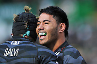 Manu Tuilagi is all smiles after scoring a try for Leicester. Heineken Cup match, between Leicester Tigers and Treviso on December 9, 2012 at Welford Road in Leicester, England. Photo by: Patrick Khachfe / Onside Images