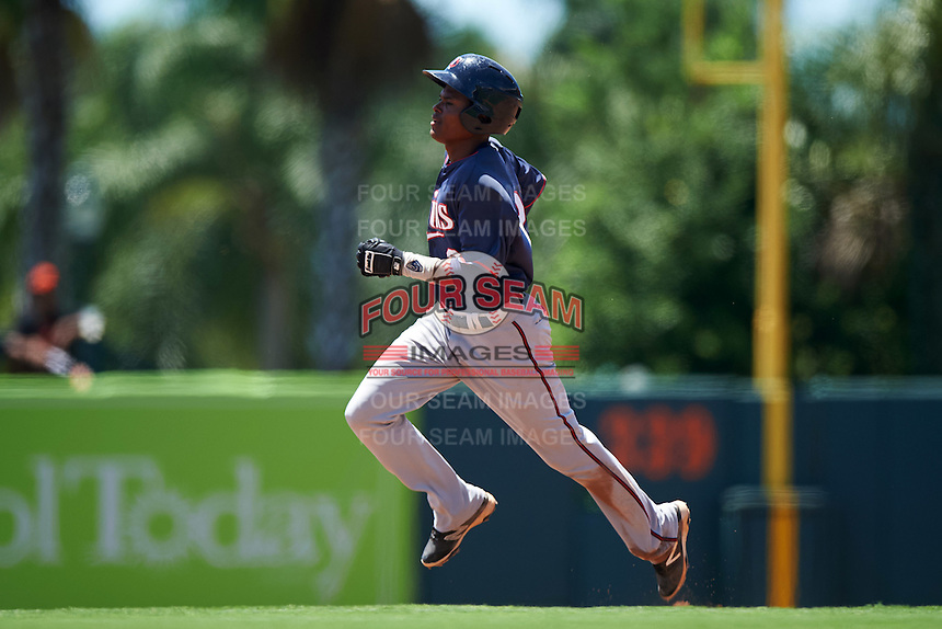 GCL Twins shortstop Gorge Munoz (2) running the bases during a game against the GCL Orioles on August 11, 2016 at the Ed Smith Stadium in Sarasota, Florida.  GCL Twins defeated GCL Orioles 4-3.  (Mike Janes/Four Seam Images)