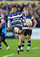 Adam Hastings of Bath Rugby kicks for touch. Aviva Premiership match, between Bath Rugby and Wasps on March 4, 2017 at the Recreation Ground in Bath, England. Photo by: Patrick Khachfe / Onside Images