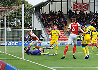 AFC Wimbledon's Nik Tzanev is powerless to prevent Fleetwood Town's Josh Morris (not in picture) scoring his side's second goal with a looping effort<br /> <br /> Photographer Kevin Barnes/CameraSport<br /> <br /> The EFL Sky Bet Championship - Fleetwood Town v AFC Wimbledon - Saturday 10th August 2019 - Highbury Stadium - Fleetwood<br /> <br /> World Copyright © 2019 CameraSport. All rights reserved. 43 Linden Ave. Countesthorpe. Leicester. England. LE8 5PG - Tel: +44 (0) 116 277 4147 - admin@camerasport.com - www.camerasport.com