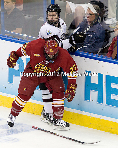 Brett Wysopal (FSU - 27), Wayne Simpson (Union - 21) - The Ferris State University Bulldogs defeated the Union College Dutchmen 3-1 (EN) in their 2012 Frozen Four semi-final on Thursday, April 5, 2012, at the Tampa Bay Times Forum in Tampa, Florida.