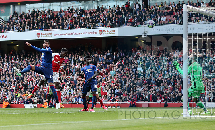 Arsenal's Danny Welbeck scoring his sides second goal during the Premier League match at the Emirates Stadium, London. Picture date: May 7th, 2017. Pic credit should read: David Klein/Sportimage