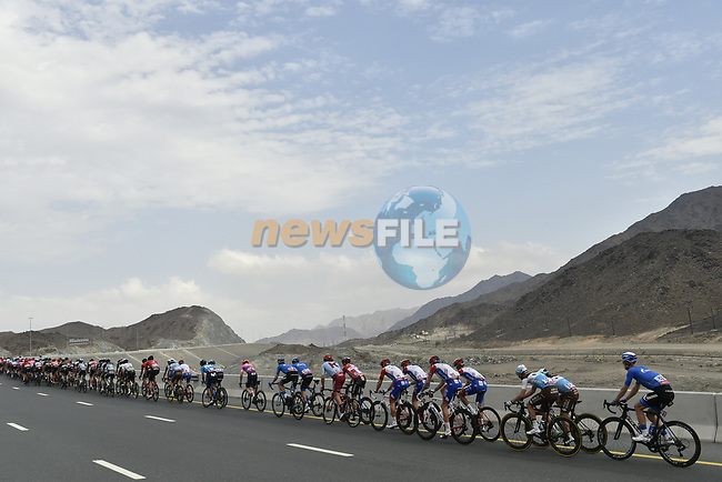 The peloton in action during Stage 5 of the 2019 UAE Tour, running 181km form Sharjah to Khor Fakkan, Dubai, United Arab Emirates. 28th February 2019.<br /> Picture: LaPresse/Fabio Ferrari   Cyclefile<br /> <br /> <br /> All photos usage must carry mandatory copyright credit (© Cyclefile   LaPresse/Fabio Ferrari)