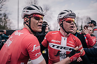 teammates Mads Pedersen (DEN/Trek Segafredo) (2nd) & Jasper Stuyven (BEL/Trek-Segafredo) (7th) congratulating eachother after the finish<br /> <br /> 102nd Ronde van Vlaanderen 2018 (1.UWT)<br /> Antwerpen - Oudenaarde (BEL): 265km