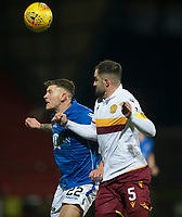 12th February 2020; McDairmid Park, Perth, Perth and Kinross, Scotland; Scottish Premiership Football, St Johnstone versus Motherwell; Callum Hendry of St Johnstone competes in the air with Peter Hartley of Motherwell