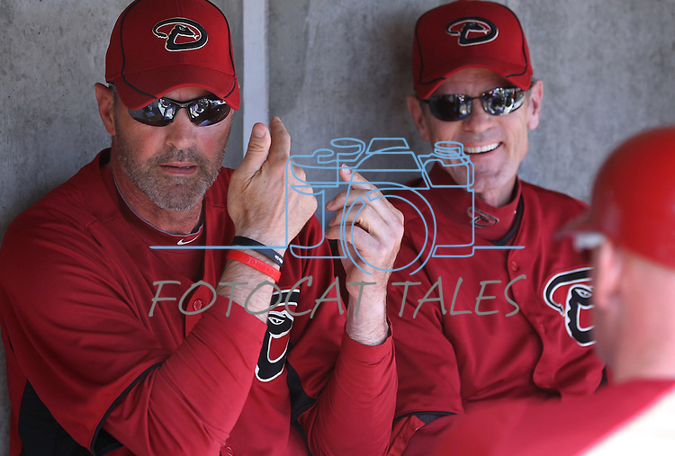 Arizona Diamondbacks coaches Kirk Gibson, Brett Butler and Matt Williams talk about the signals before the start of a Cactus League preseason game between the San Francisco Giants and the Arizona Diamondbacks in Scottsdale, Ariz., on Sunday, March 4, 2012. The Giants won 11-1..Photo by Cathleen Allison
