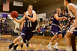SIOUX FALLS, SD - DECEMBER 31: Zach Wessels #11 from the University of Sioux Falls drives to the basket against Augustana University during their game Sunday afternoon December 31, 2017 at the Stewart Center in Sioux Falls, SD.  (Photo by Dave Eggen/Inertia)