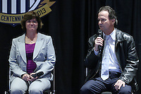 INDIANAPOLIS, IN - January 18, 2013: 1991 World Cup coach Anson Dorrance (right) with 1991 World Cup captain and 2003 World Cup coach April Heinrichs (left). U.S. Soccer hosted a World Cup Coaches and Captains panel at the Indiana Convention Center in Indianapolis, Indiana during the NSCAA Annual Convention.