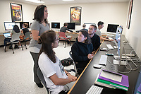 Diana Keeler, Manager of Digital Production, leads students in her Digital Design class in the computer lab of Weingart Hall on Oct. 22, 2019.<br /> (Photo by Marc Campos, Occidental College Photographer)