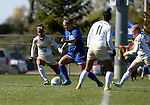 BROOKINGS, SD - OCTOBER 9:  Nicole Hatcher #10 from South Dakota State University controls the ball between Tahlor Lyman #16 and Megan Guico #11 from Oral Roberts during their game Sunday afternoon at Fischback Park in Brookings. (Photo by Dave Eggen/Inertia)