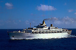The Oriana cruise ship sailing in the south pacific. 1980/1981