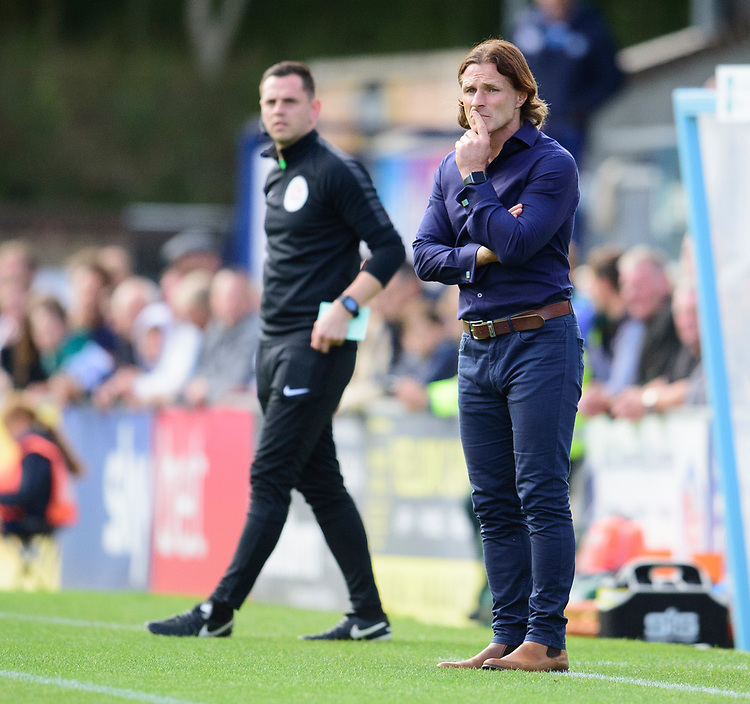 Wycombe Wanderers manager Gareth Ainsworth shouts instructions to his team from the technical area<br /> <br /> Photographer Andrew Vaughan/CameraSport<br /> <br /> The EFL Sky Bet League One - Wycombe Wanderers v Lincoln City - Saturday 7th September 2019 - Adams Park - Wycombe<br /> <br /> World Copyright © 2019 CameraSport. All rights reserved. 43 Linden Ave. Countesthorpe. Leicester. England. LE8 5PG - Tel: +44 (0) 116 277 4147 - admin@camerasport.com - www.camerasport.com