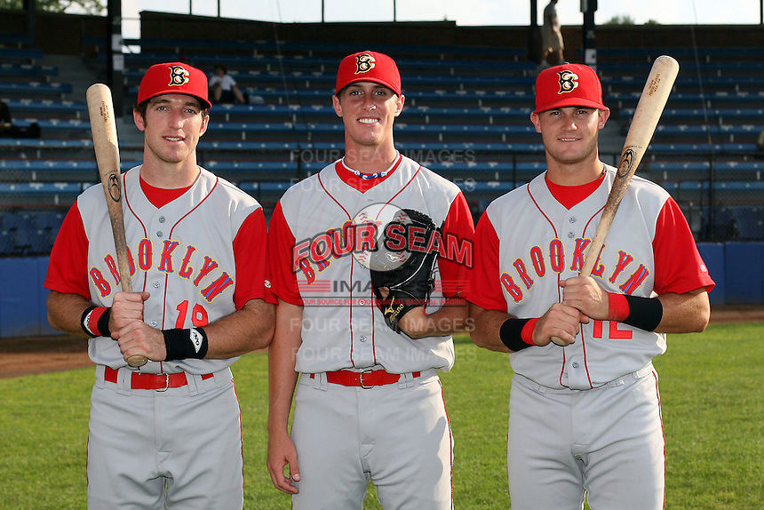 July 11th 2008:  First round draft picks Ike Davis (L), Brad Holt (middle) and Reese Havens (R) of the Brooklyn Cyclones, Class-A affiliate of the NY Mets, pose for a photo before a game at Russell Diethrick Park in Jamestown, NY.  Photo by:  Mike Janes/Four Seam Images