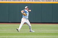 North Carolina Tar Heels outfielder Chaz Frank #2 throws during Game 3 of the 2013 Men's College World Series between the North Carolina State Wolfpack and North Carolina Tar Heels at TD Ameritrade Park on June 16, 2013 in Omaha, Nebraska. The Wolfpack defeated the Tar Heels 8-1. (Brace Hemmelgarn/Four Seam Images)