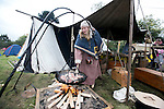 Eleanor Hayes cooking some stuffed Rabbit in the  Re-Enactment Camp at The Brian Boru Festival in Killaloe/Ballina during the Commemoration Weekend.<br /> Pictured Credit Brian Gavin Press 22