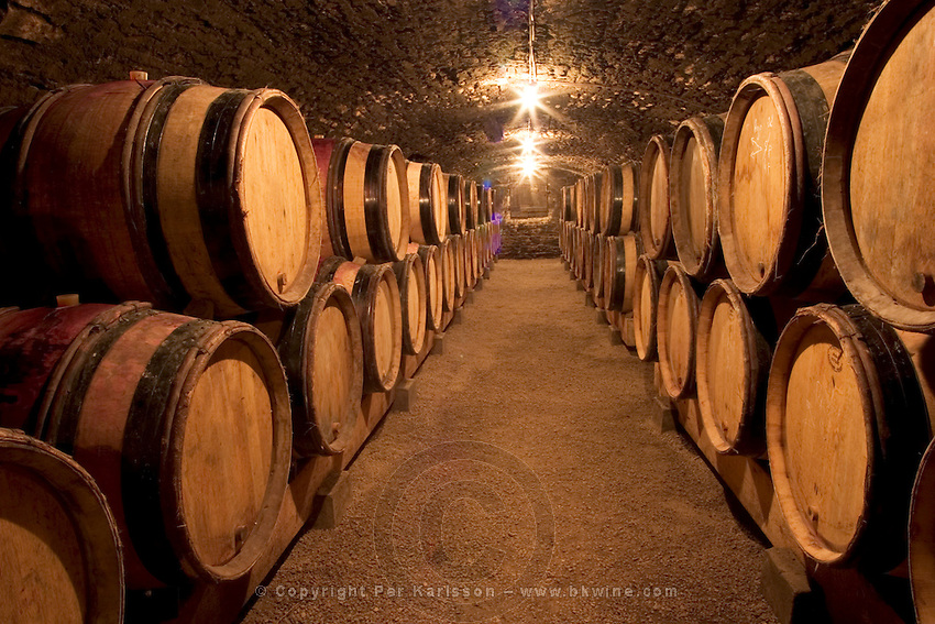 A wine cellar with rows of oak barrels under a vaulted old stone ceiling and gravel on the floor. Bourgogne. Burgundy Cote d'Or France Europe
